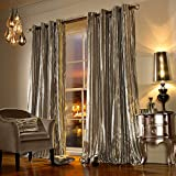 Iliana Kylie Minogue Luxury Velvet Ring Top Curtains Pair - 90x90 (229x229) Praline (Beige) by Kylie Minogue
