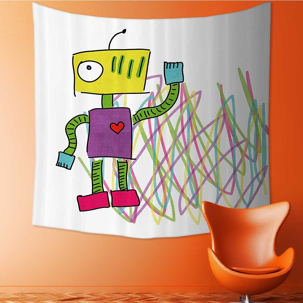 Nalahomeqq Psychedelic Decor Collection Robot with Lets Dance Quote Electric Friendly Cyborg Character Print Kids Doodle Style Microfiber Fabric drawing room Custom tapestry Extra Mu 40 W x 60 L INCH