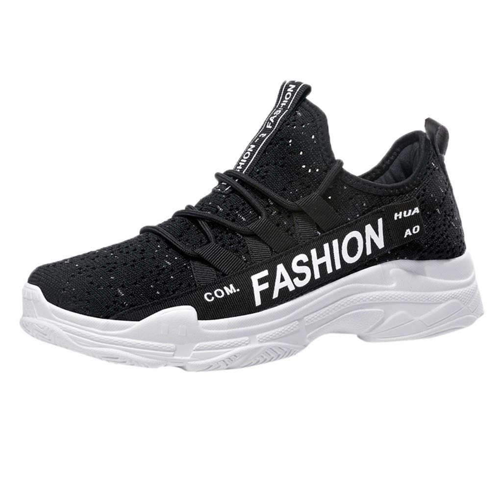 Men's Breathable Knit Sneakers - Stylish Athletic-Inspired Walking Shoes Outdoors Summer Running Trainning Tennis Shoe (Black, US:8.5) by Cealu (Image #1)