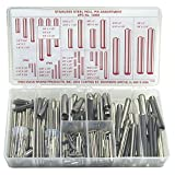 Stainless Steel Slotted Spring Pin Assortment (300 Pieces), Inch, With Case