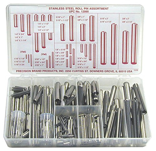 - Stainless Steel Slotted Spring Pin Assortment (300 Pieces), Inch, With Case