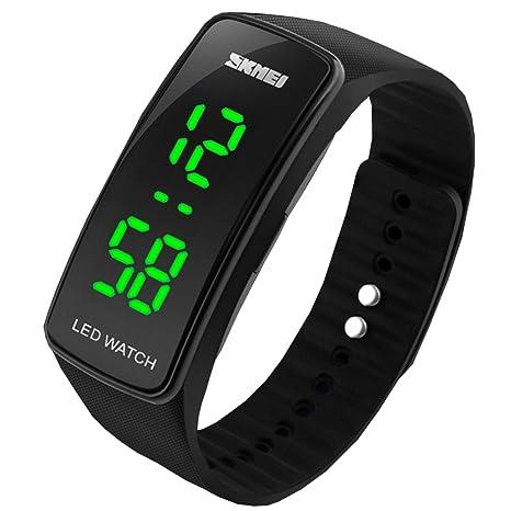 Sunjas Reloj Deportivo de Pulsera Táctil para Hombre Mujer Reloj Digital LED Resistente al Agua -