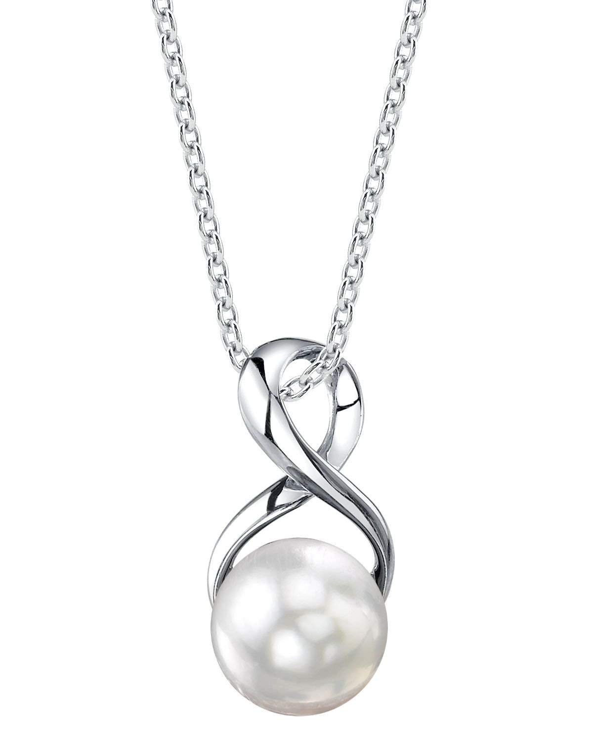 THE PEARL SOURCE 9-10mm Genuine White Freshwater Cultured Pearl Infinity Pendant Necklace for Women by The Pearl Source