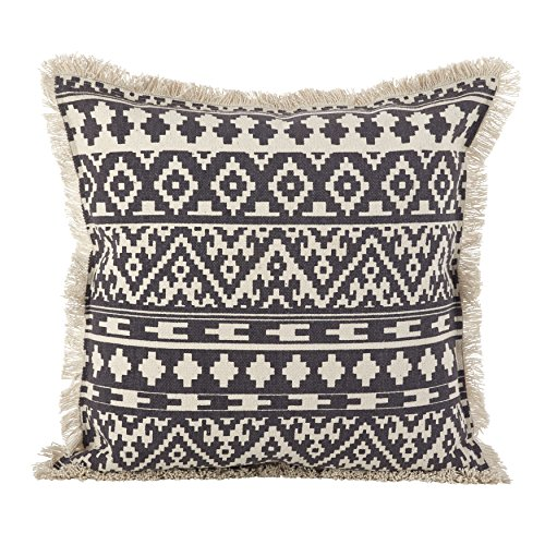 Fringe Throw Pillow (SARO LIFESTYLE Aztec Tribal Design Fringe Trim Cotton Down Filled Throw Pillow, 20