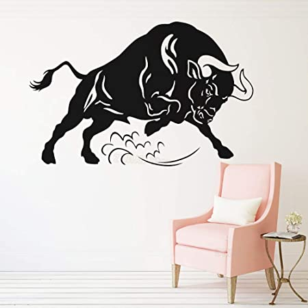 zhuziji Pegatinas de Pared de niña y Mariposa Toro Enojado S Animales S Granja España Vinilo Mural extraíble Impermeable Familia Niño. Sala de Estar autoadhesiva. Dormitorio Wa42x65cm: Amazon.es: Hogar