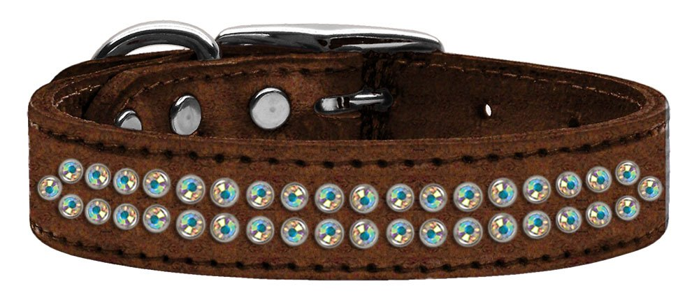20\ Mirage Pet Products Two Row Aurora Borealis Crystal Metallic Leather bluee Dog Collar, 20
