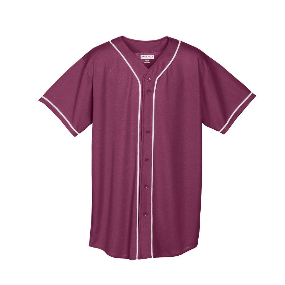 Augusta Sportswear メンズボタンフロント野球ジャージ 水分発散メッシュ ブレードトリム B00QFHI4PU Small|マルーン/ホワイト マルーン/ホワイト Small