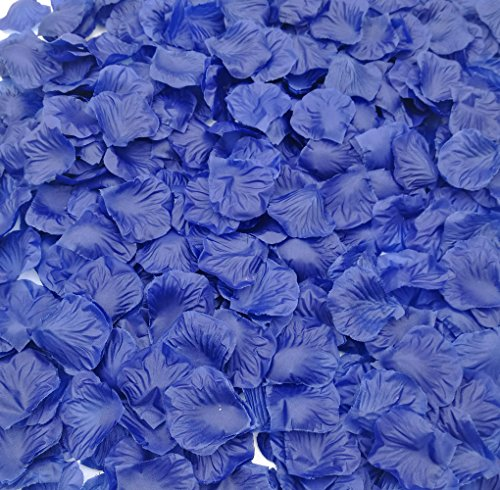Blue Silk Rose Petals (SMILE PARTY 2200 PCS Blue Silk Rose Petals Wedding Flower Decoration)