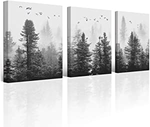 Wall Art Canvas Wall Art Forest Wall Art Living Room Decoration Black and White Art Landscape Wall Art Gable Decoration Morning Fog Mountain Canvas Art Wall Fog Forest 3 Panel Modern Home Decoration