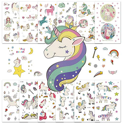 Unicorn Temporary Tattoos for Kids Birthday Party Favors Supplies Girls Rainbow Fake Stickers Gift Bag Fillers 25 Sheets