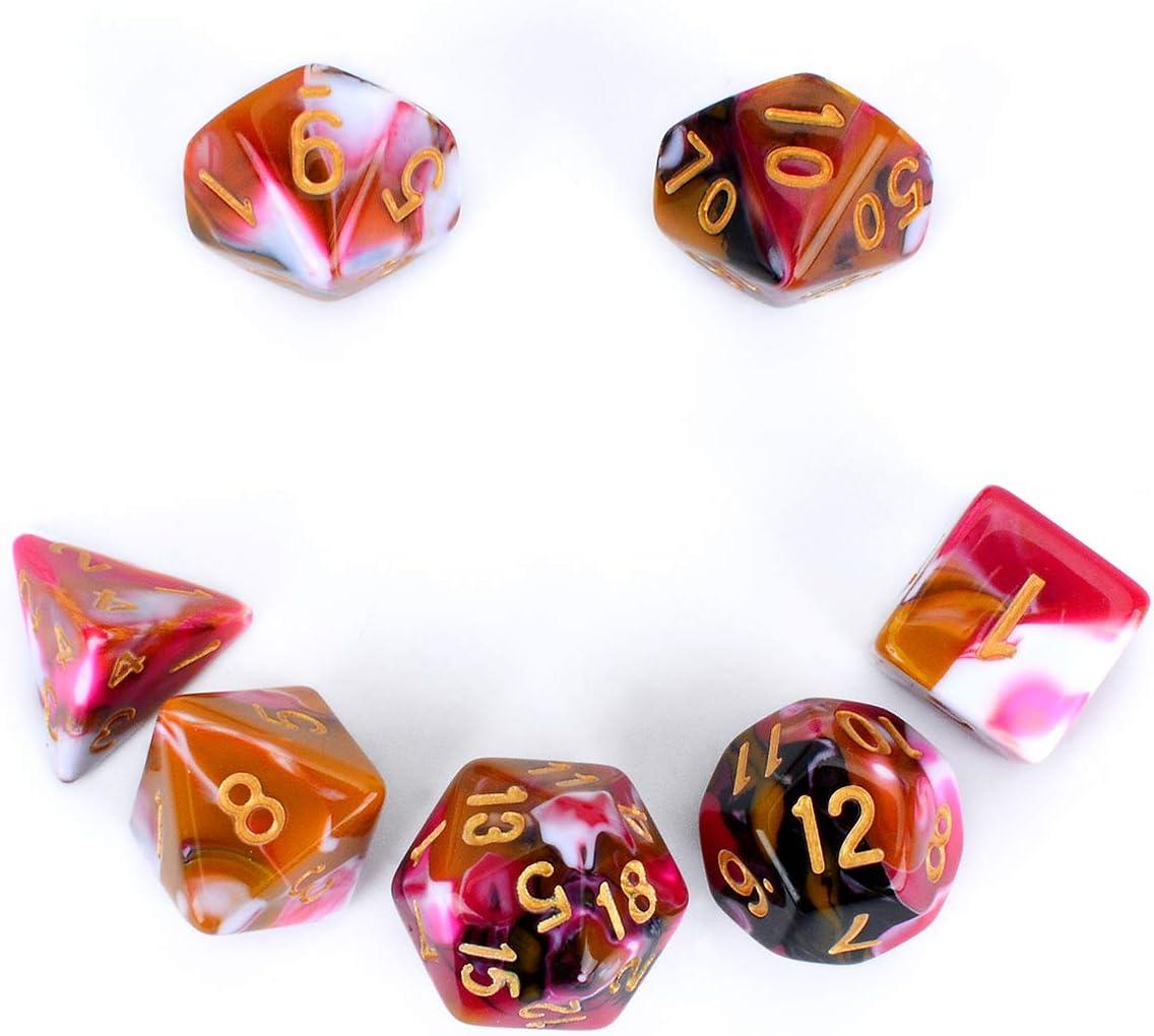 FLASHOWL Juego de Dados de Cuatro Colores DND, Juego de Dados poliédricos para Mazmorras y Dragones (D&D) MTG, Juego de Dados de Mesa de 7 Piezas (7 Piezas Rojo y Blanco y Amarillo y Negro)