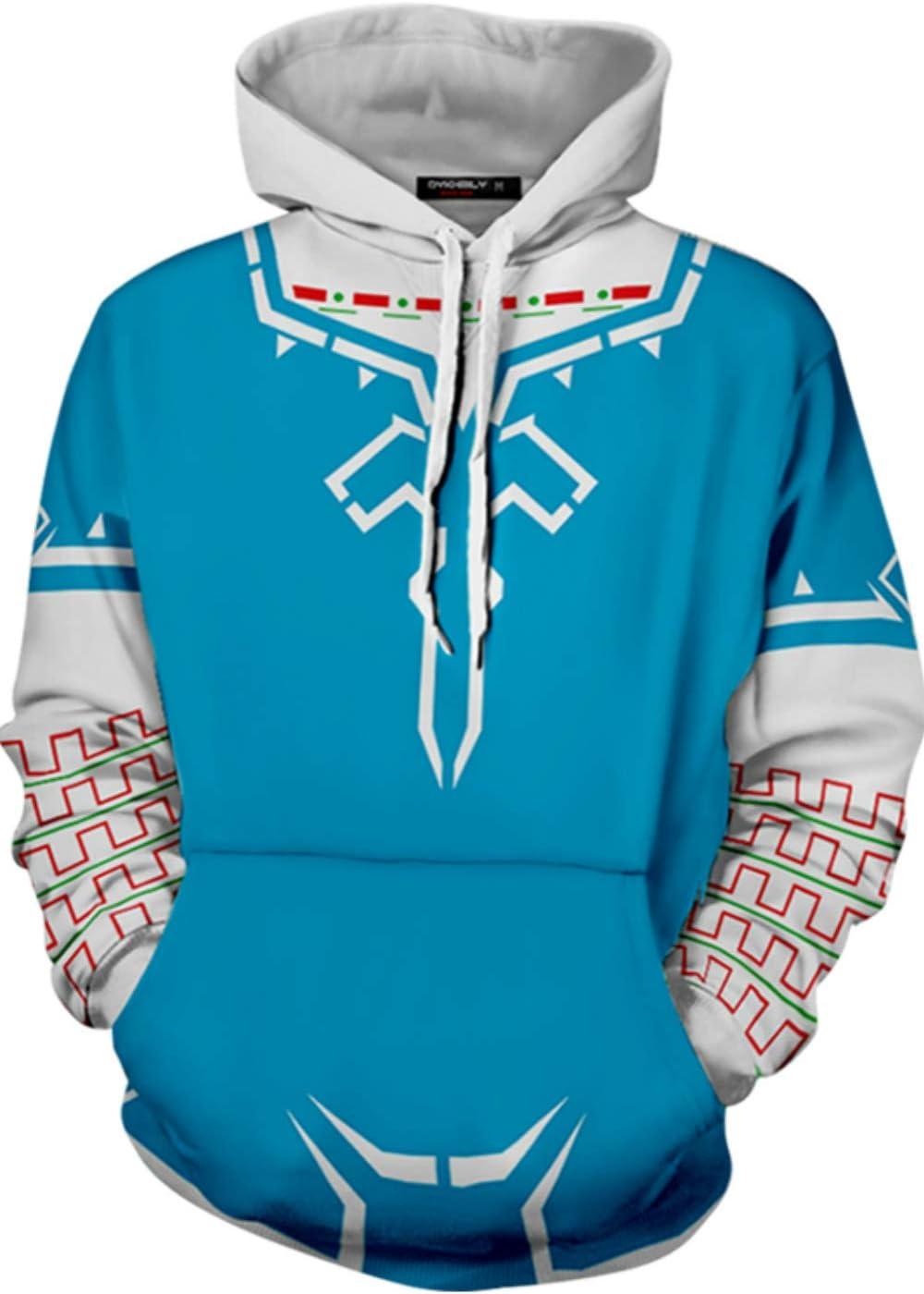 The Legend of Zelda Link Hoodie Sweatshirt Breath of The Wild Cosplay Costume Pullover Top Blue