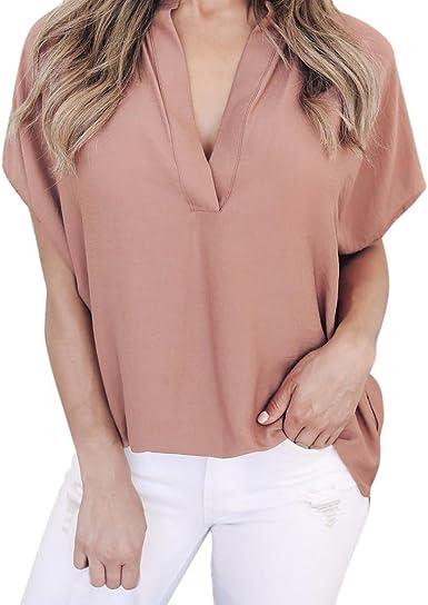 Keepwin Blusas Vintage Mujer, Verano Mangas Corta Delgado Camisas SeñOras Verano Gasa Casual Camisa Tops Blusa Camiseta (XL, Rosa): Amazon.es: Ropa y accesorios