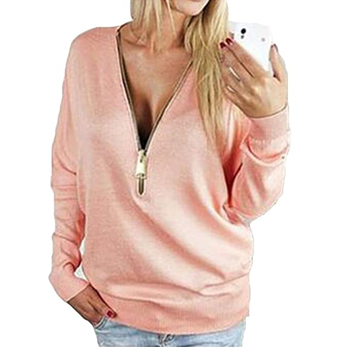 release date: d914e e13bb Hibote Damen Pulli Sweatshirts Pullover Langarm V Ausschnitt ...