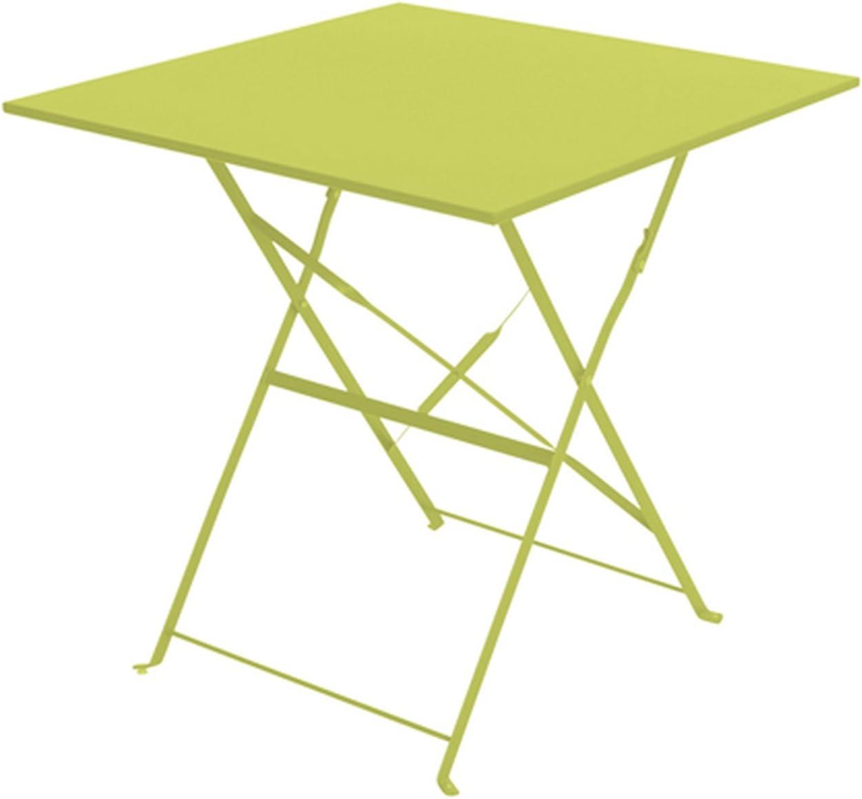 Table pliante carrée de jardin, terrasse ou véranda 70 X 70 cm acier traité  époxy Coloris VERT POMME