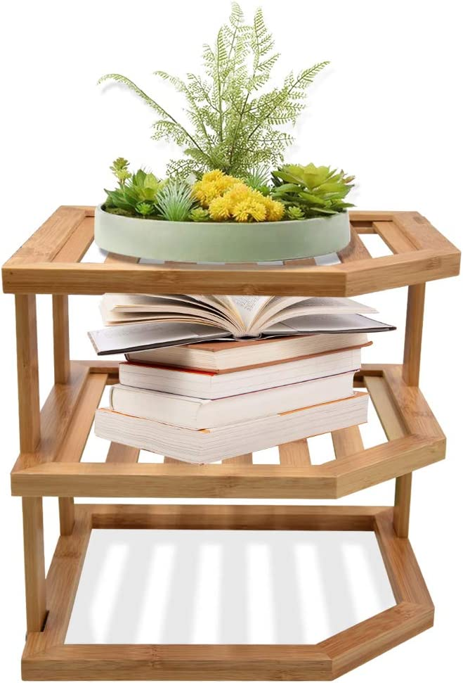 Kitchen Counter Organizer, Exquisite Bamboo 3-Tier Corner Shelves Plate Rack, Multi-Use Cabinet Organizer for Plates Potted Plants Holder Home Decor