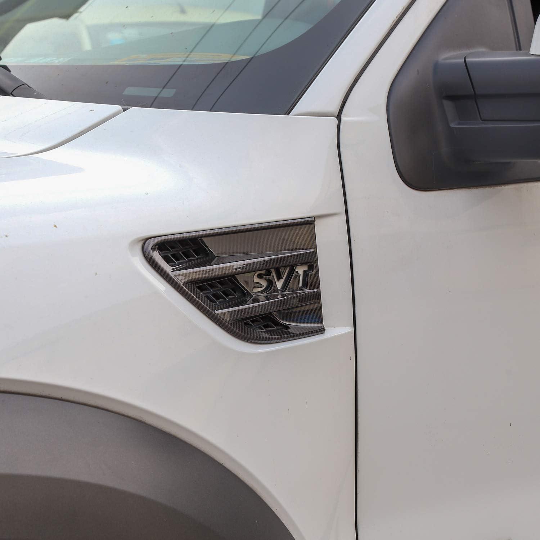 Car Front Fender Air Outlet Vent Cover Trim for 2009-2014 Ford F150 Carbon Fiber Grain