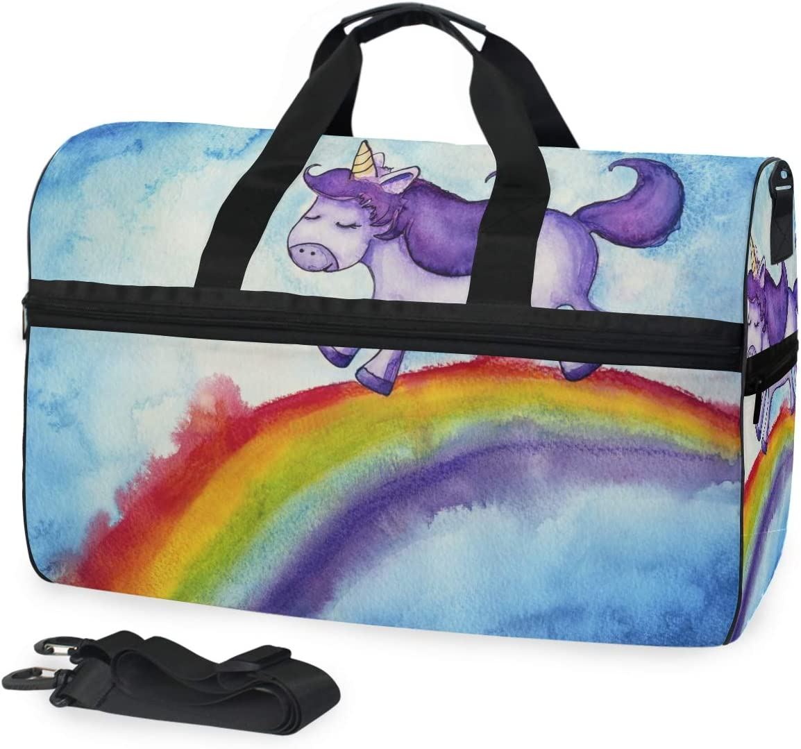 Unicorn Sports Gym Bag with Shoes Compartment Travel Duffel Bag for Men and Women