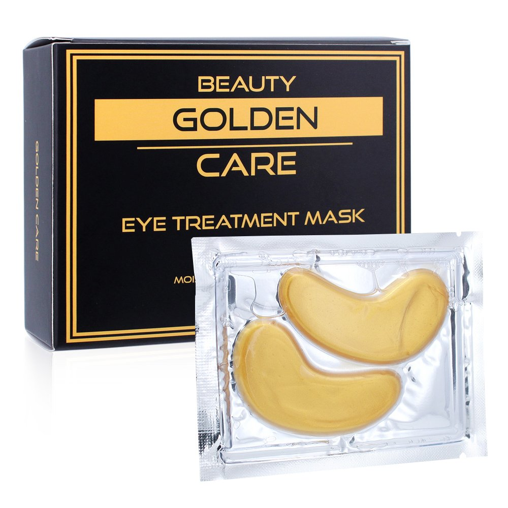 GOLDEN CARE Gold Collagen Eye Treatment Mask Reducing Dark Circles, Puffiness, Bags, Eye Pads With Anti-aging, Wrinkle Care & Moisturizing Properties, Gifts for Women & Men (16 PAIRS)