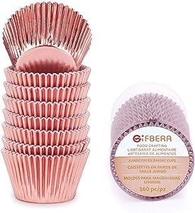 Gifbera Jumbo Metallic Rose Gold Foil Cupcake Liners Molds, 160-Count