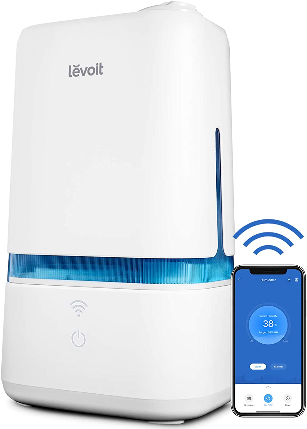 LEVOIT Humidifiers for Bedroom,Smart Wi-Fi Cool Mist Essential Oils Diffuser in one,4L Ultrasonic Air Vaporizer for Plants,Baby,Quiet for Home Large Room,Nursery,40 Hours,Classic 200S, Blue