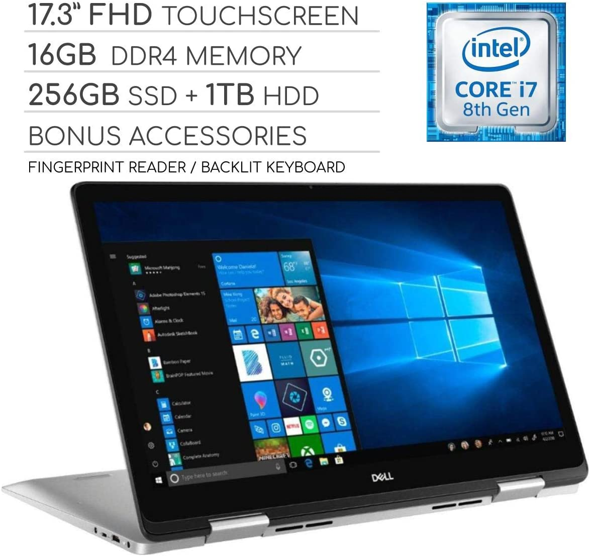 "Dell Inspiron 17 7000 Series 2019 2-in-1 17.3"" FHD Touchscreen Laptop, 4-Core Intel Core i7-8565U 1.8GHz, 16GB RAM, 256GB SSD + 1TB HDD, Backlit Keyboard, Wi-Fi, Bluetooth, Webcam, HDMI, Windows 10"