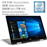 "Dell Inspiron 17 7000 Series 2019 2-in-1 17.3"" FHD Touchscreen Laptop, 4-Core Intel Core i7-8565U 1.8GHz, 16GB RAM, 256GB SSD + 1TB HDD, Backlit Keyboard, Wi-Fi, Bluetooth, Webcam, HDMI, Windows 10"