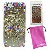 United Electek® Vintage Skull Design Transparent Black Crystal Bling Colorful Rhinestone Case Cover + United Electek Purple Velvet Pouch for iPhone 5 - Comes with Pink Gift Box Package