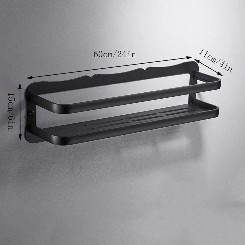 YXN Space Aluminum Bathroom Shelf Bathroom Hardware Accessories Single-layer Cosmetics Black Ledge Long Storage Rack (Size : 60cm)