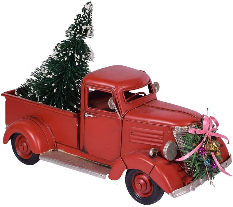 Red Metal Rustic Pickup Truck With Xmas Tree 10 Retro Chic Rustic Christmas Decoration Charm Vintage Look Style Industrial Decor Farmhouse Red Truck Decor Decorative Collectible Vehicle