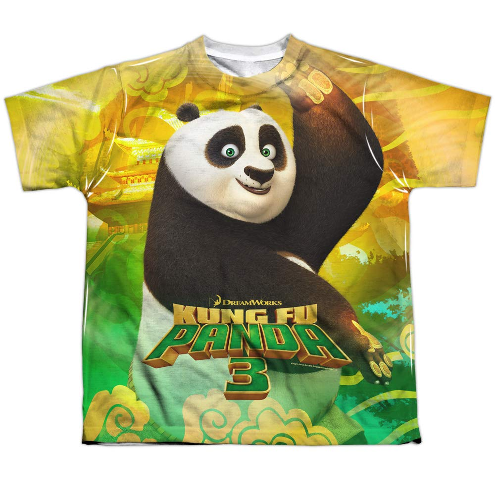 1cb942a1 Amazon.com: Kung Fu Panda Film Happy Po Movie Logo Boys Youth Front Print T-Shirt  Tee: Clothing