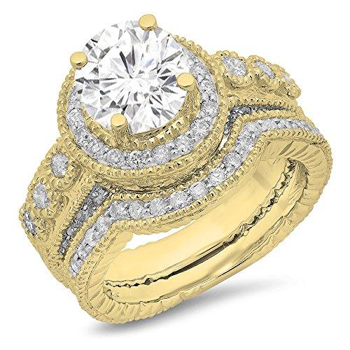 Dazzlingrock Collection 14K Round Moissanite & White Diamond Ladies Millgrain Engagement Ring Set, Yellow Gold, Size 4