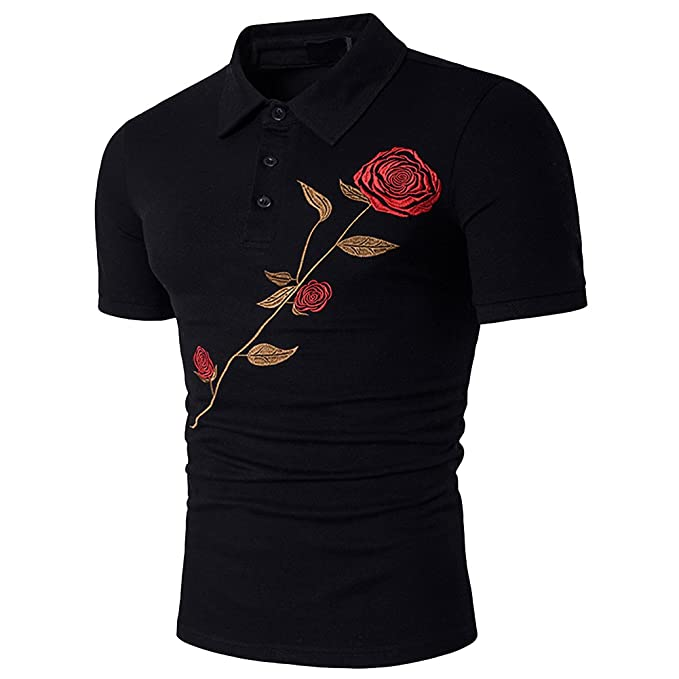 Cottory Mens Artistic Flower Embroidery Short Sleeve Polo T Shirt