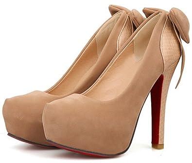 ac1c3343dd Amazon.com | Summerwhisper Women's Sexy Bowknot Round Toe Chunky Extreme  High Heel Shoes Hidden Platform Slip-on Pumps | Pumps