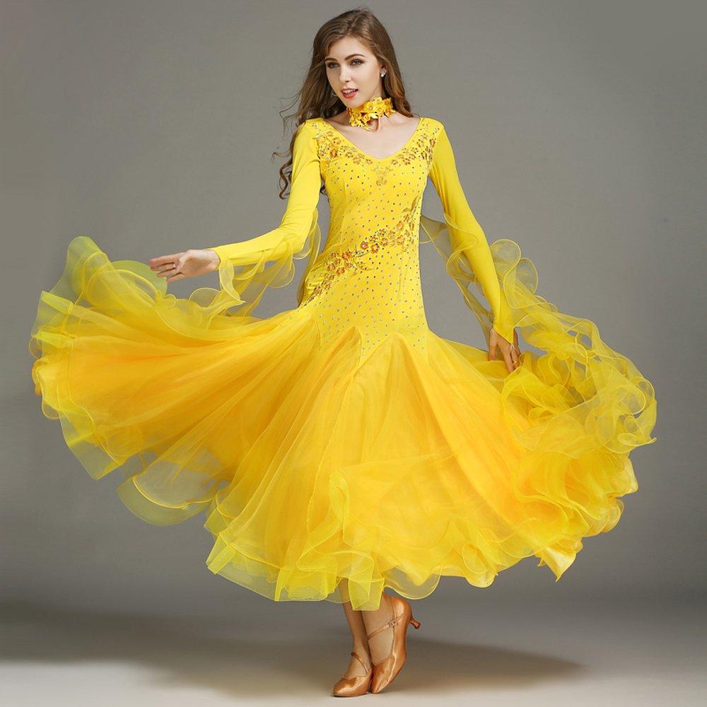 現代の女性の大きな振り子の手刺繍タンゴとワルツダンスドレスダンスコンペティションスカート長袖ラインストーンダンスコスチューム B07HHXBX7H XXL|Yellow Yellow XXL