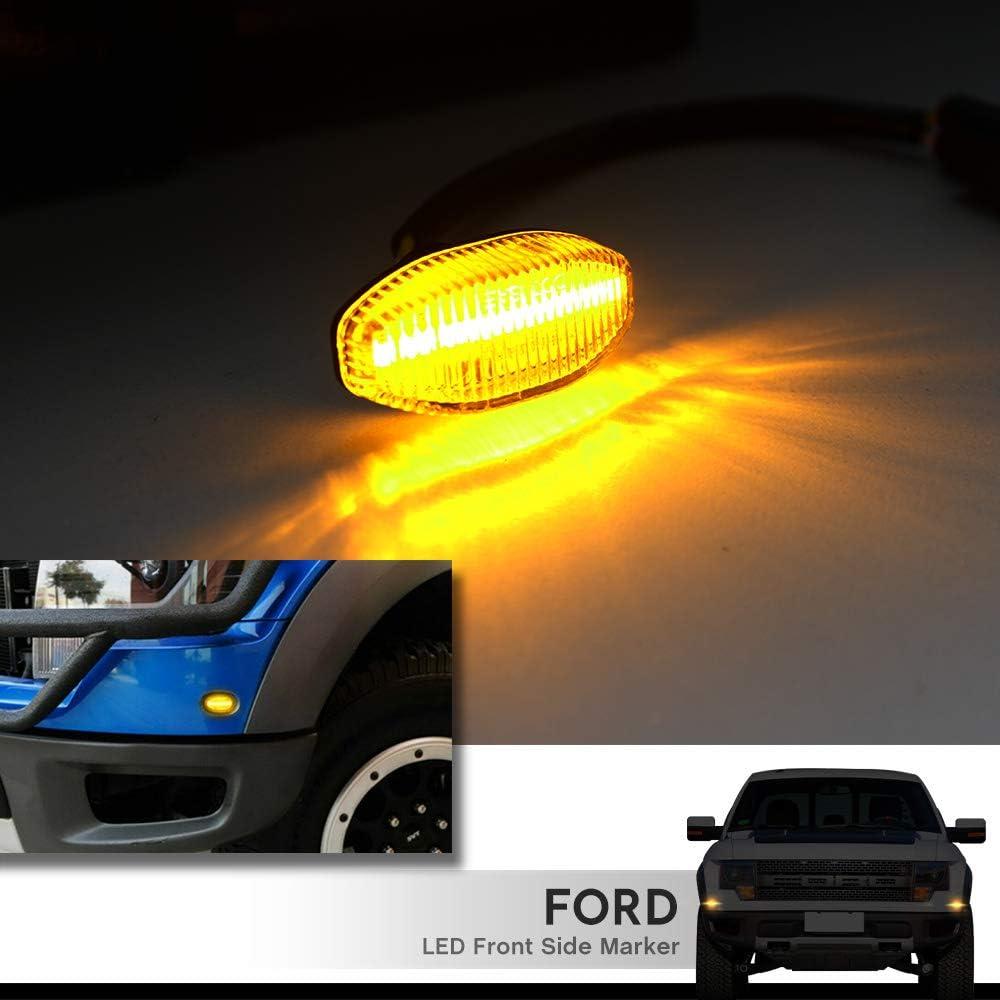 LED Side Marker Lamps for 2010-2014 Ford F150 SVT Raptor Pick Up Front Fender Flare Side Marker Lights F-150 Clear Lens Amber LED Turn Signal Light Kits