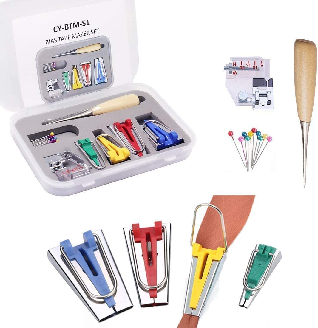 Machine Tool Patchwork DIY Binding,Household Crafts DIY Sewing Quilting Tool Set, Ball Pins with Adjustable Bias Binder Foot Awl TooFu 7 Piece Set Fabric Bias Tape Maker Kit 6,12,18,25mm