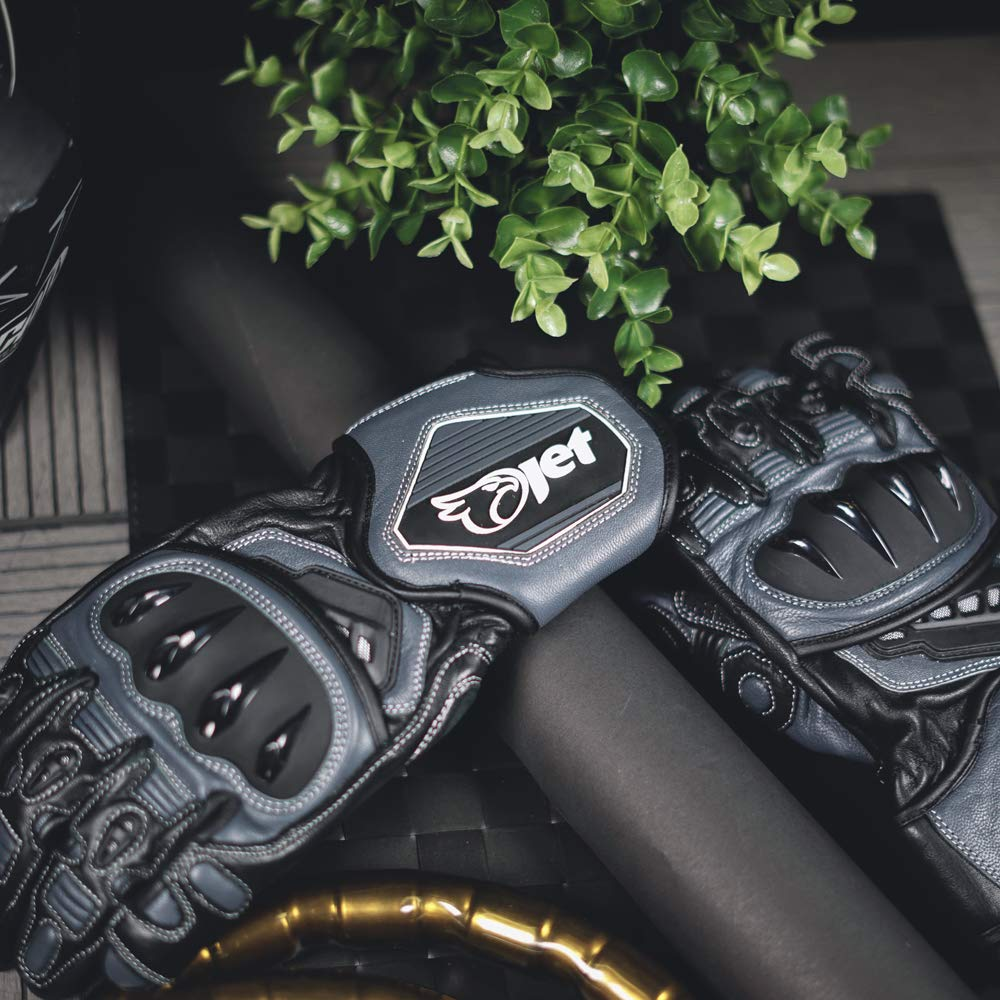 L, Black//White JET Motorcycle Motorbike Gloves Premium Full Leather Gauntlet Race Hard Knuckle Gloves