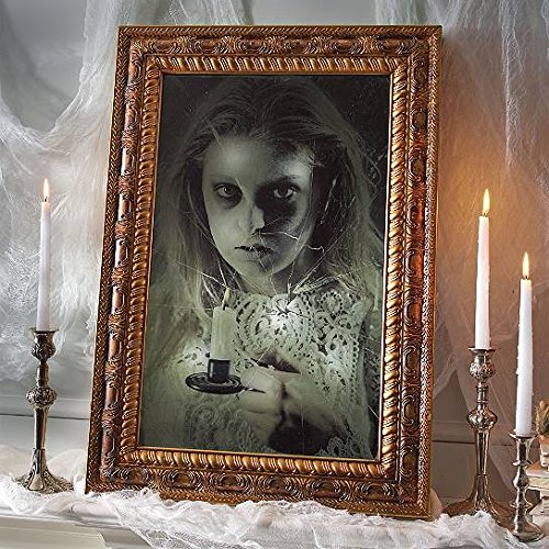 Animated Sounds Ghostly Girl In Mirror Haunted House Indoor HALLOWEEN Decoration Animatronic, Battery Powered, Motion Activated, Talking Mirror