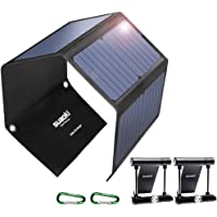 SUAOKI Quick Charge 3.0 Portable Solar Charger 28W SUAOKI Foldable Solar Panels 3-Port USB Phone Charger Compatible with Cell Phone iPhone iPad Samsung Laptop Tablet and More