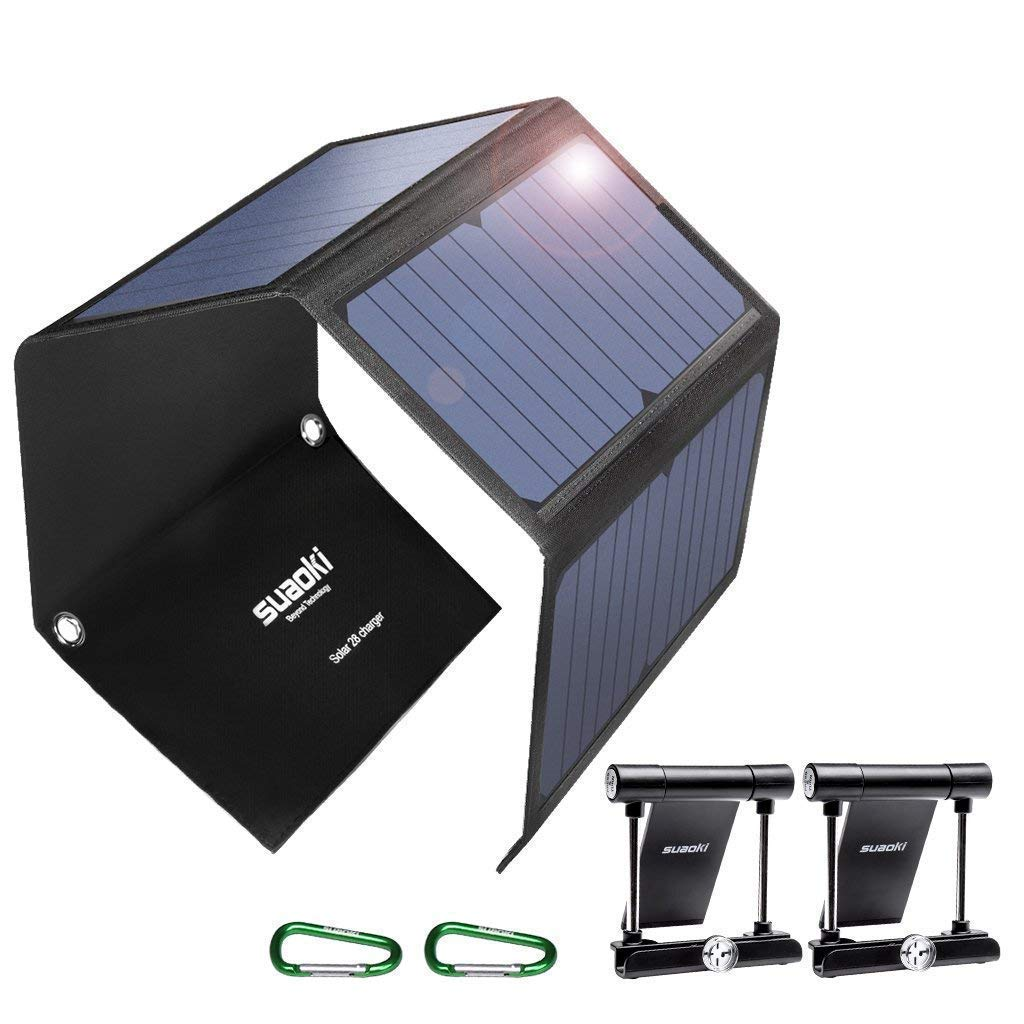 SUAOKI Quick Charge 3.0 Portable Solar Charger 28W SUAOKI Foldable Solar Panels 3-Port USB Phone Charger Compatible with Cell Phone iPhone iPad Samsung Laptop Tablet and More by SUAOKI