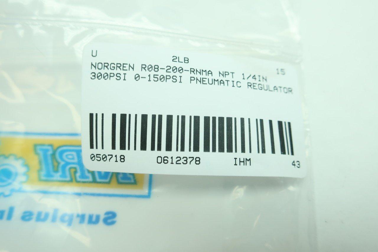 NORGREN R08-200-RNMA Pneumatic Regulator 1//4IN NPT 0-150PSI 300PSI D612378