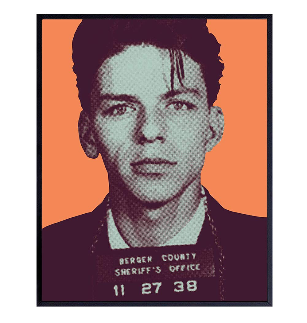 Frank Sinatra Mugshot Poster, Wall Art Print - 8x10 Warhol modern Pop Art Home Decor - Cool Unique Contemporary Room Decorations for Living Room, Bedroom - Gift for Ole Blue Eyes Fans - UNFRAMED