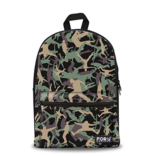 8fe5c13b70 Camo Men Canvas Backpack Teen School Bag Boy Fashion Daily Daypack