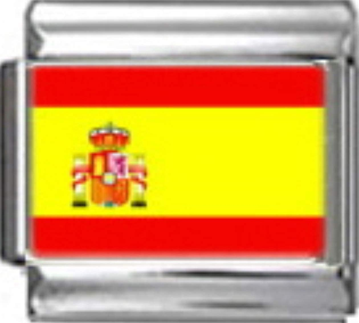 Stylysh Charms Spain Spanish Flag Photo Italian 9mm Link PC164