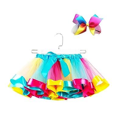FENICAL Vestido con Falda de tutú Arcoiris para niña con Conjunto ...