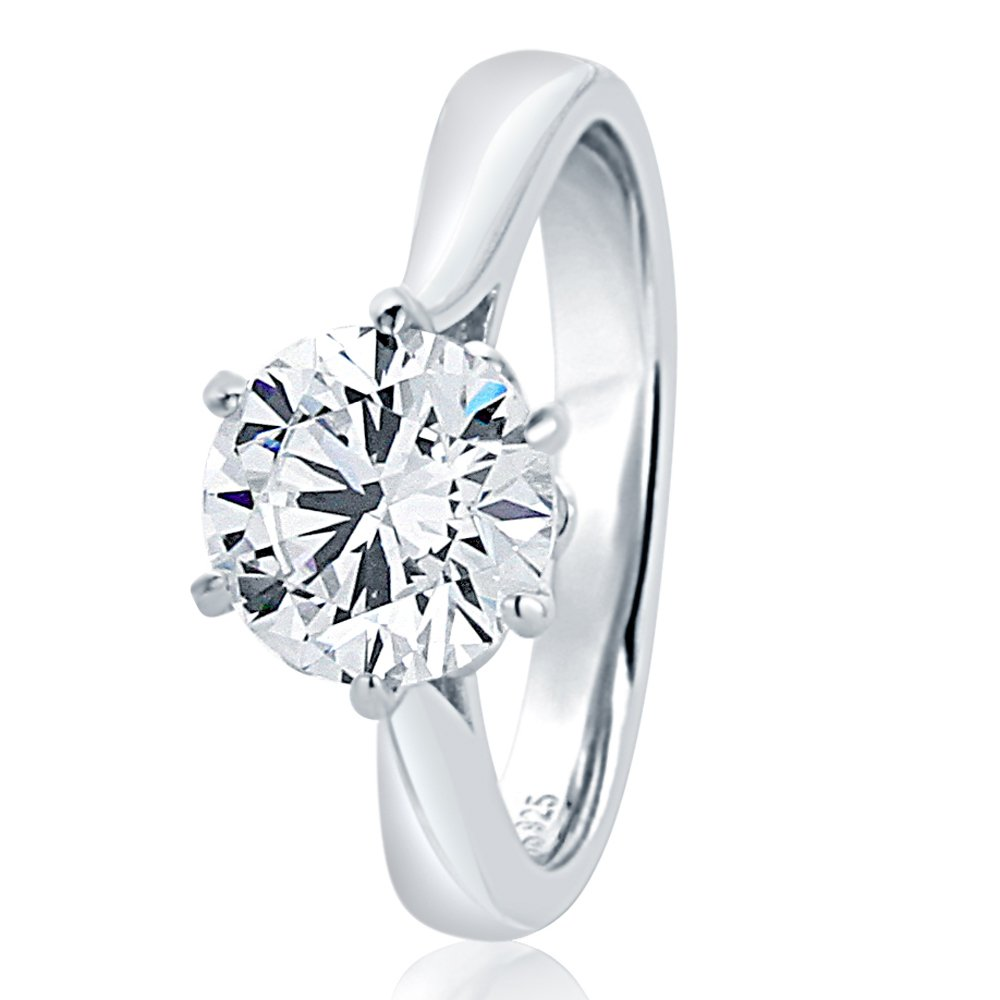Sterling Silver Round 2ct CZ 6 prong Classic Solitaire Wedding Engagement Ring 8MM (Size 5 to 10), 7