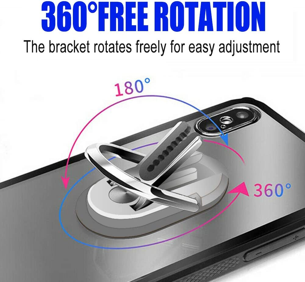 Phone Ring Holder Two in ONE Multipurpose Mobile Phone Bracket Holder Stand 360 Degree Rotation for Car Home HENGBANG Multipurpose Phone Bracket Silver Multiple-Angle Car Phone Mount