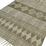 Eyes of India – 3 X 5 ft Green Cotton Block Print Accent Area Dhurrie Rug Flat Weave Hand Woven Boho Chic Indian Bohemian For Sale