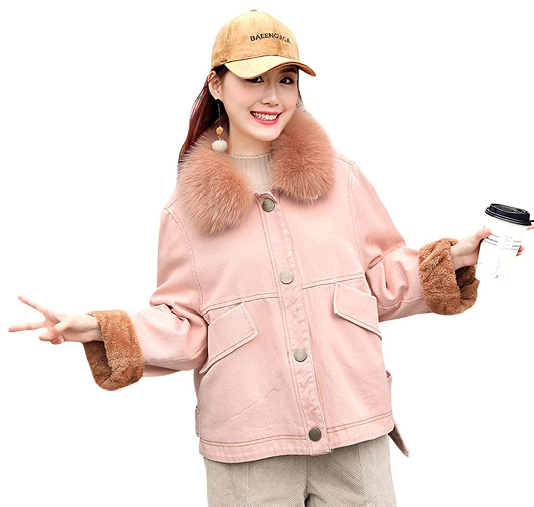 Pink Tortor 1bacha Women's Faux Fur Collar Winter colord Denim Jacket Fleece Lined